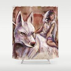 Miyazaki's Mononoke Hime - San and the Wolf TraDigital Painting Shower Curtain