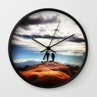 Couple Hike Wall Clock