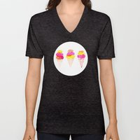 Colorful water color Ice Cream cone illustration pattern Unisex V-Neck