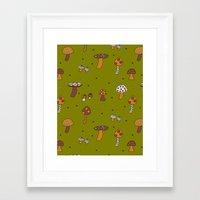 Mushrooms Green Framed Art Print
