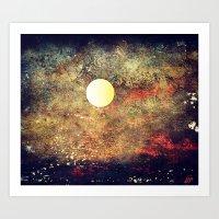 Moon Over The Sea Art Print