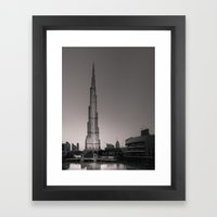 Burj Khalifa - Black And… Framed Art Print