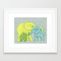 Elephant Family of Three Framed Art Print