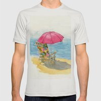 Beach Chair Mens Fitted Tee Silver SMALL