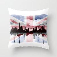 Great British Flag London Skyline 2 Throw Pillow
