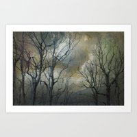 trees and clouds Art Print