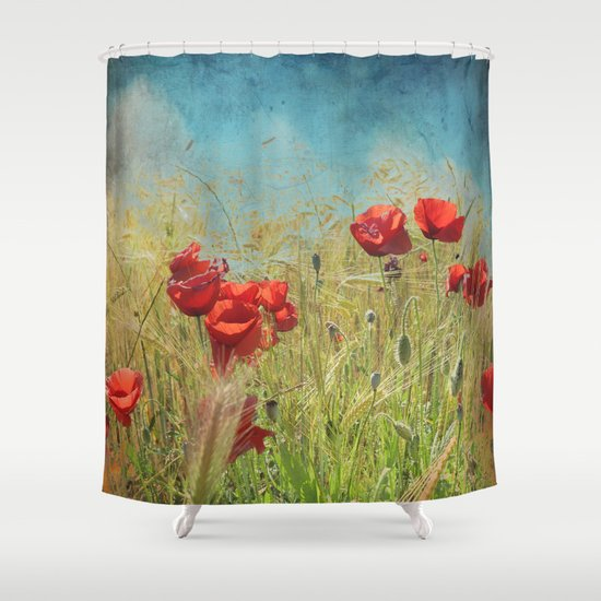 Fantasy poppies shower curtain by guido monta s society6 for Fantasy shower curtains