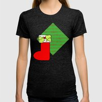 Christmas Stocking With … Womens Fitted Tee Tri-Black SMALL