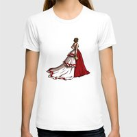 Red Gown Womens Fitted Tee White SMALL