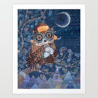 Owl and baby owlet Art Print