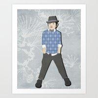 Boys formal wear blue argyle Art Print