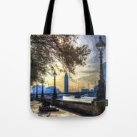 River Thames Path Oil Tote Bag