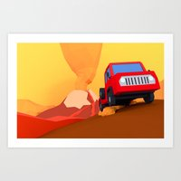 Escape From Volcano (low… Art Print
