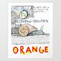 Snail Orange Alert Art Print