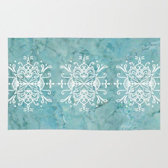 Aqua Blue Marble-Royal White Rug By Lisa Argyropoulos