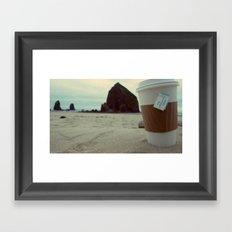 Sipping Tea at Cannon Beach Framed Art Print