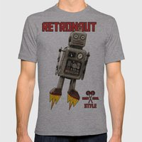 :: RETRONAUT Mens Fitted Tee Athletic Grey SMALL