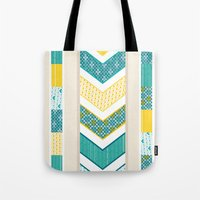 Tote Bag featuring Sunshine Chevron by Wild Notions