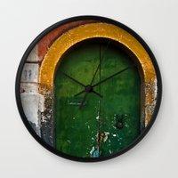 Magic Green Door In Sici… Wall Clock