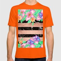 Watercolor tropical floral rose gold marble stripes  Mens Fitted Tee Orange SMALL