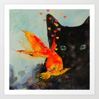 Black Cat And The Gold F… Art Print