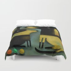 YELLOW AND BLACK HOUNDS Duvet Cover