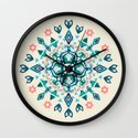 Watercolor Lotus Mandala in Teal & Salmon Pink Wall Clock