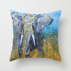 African Elephant Bull Throw Pillow