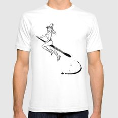 broom and brush witchcraft SMALL White Mens Fitted Tee