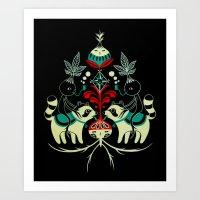 Mandragora and racoon. Art Print