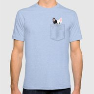 Pocket French Bulldog - … Mens Fitted Tee Tri-Blue SMALL