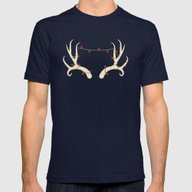 Antler Lights Mens Fitted Tee Navy SMALL