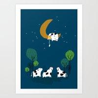 A cow jump over the moon Art Print