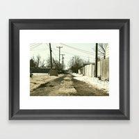 Suburban Back Alley Framed Art Print