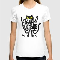Beware the Walking Cat Womens Fitted Tee White SMALL