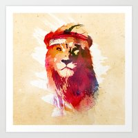 lion Art Prints featuring Gym Lion by Robert Farkas