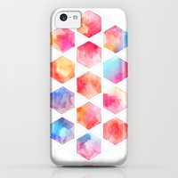 iPhone 5c Cases featuring Radiant Hexagons - geometric watercolor painting by micklyn