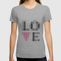 Exaggerated Pixelated LO… Womens Fitted Tee Athletic Grey SMALL