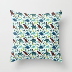 Dinosaur Days (Smaller Print) Throw Pillow