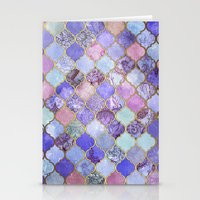 Royal Purple, Mauve & Indigo Decorative Moroccan Tile Pattern Stationery Cards