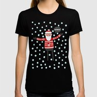 Hipster Santa Womens Fitted Tee Black SMALL