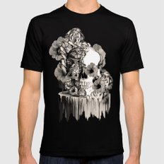 Life on a pedestal, floral skull SMALL Black Mens Fitted Tee