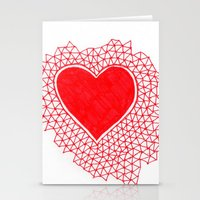red geometric heart Stationery Cards