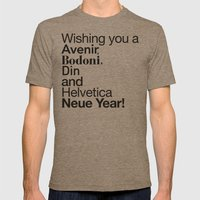Happy Helvetica Neue Year 2014 Mens Fitted Tee Tri-Coffee SMALL