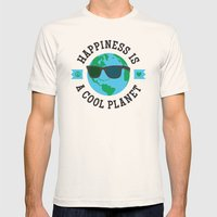 Happiness Is A Cool Planet Mens Fitted Tee Natural SMALL