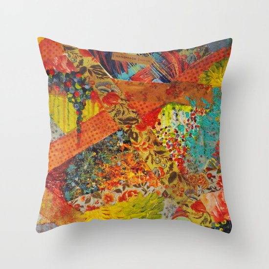 Pieces of Me - Gorgeous Bold Fabric Painting Collage Love Colorful Rainbow Yellow Red Stripes Floral Throw Pillow