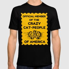 Crazy Cat People of America SMALL Black Mens Fitted Tee