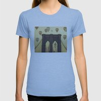 Balloons Over the Bridge Womens Fitted Tee Athletic Blue SMALL