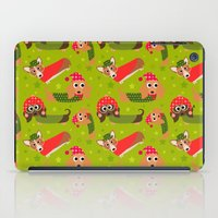 Winter Dachshund Cartoon Fun Pattern iPad Case
