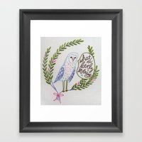 Owl in ferns Framed Art Print